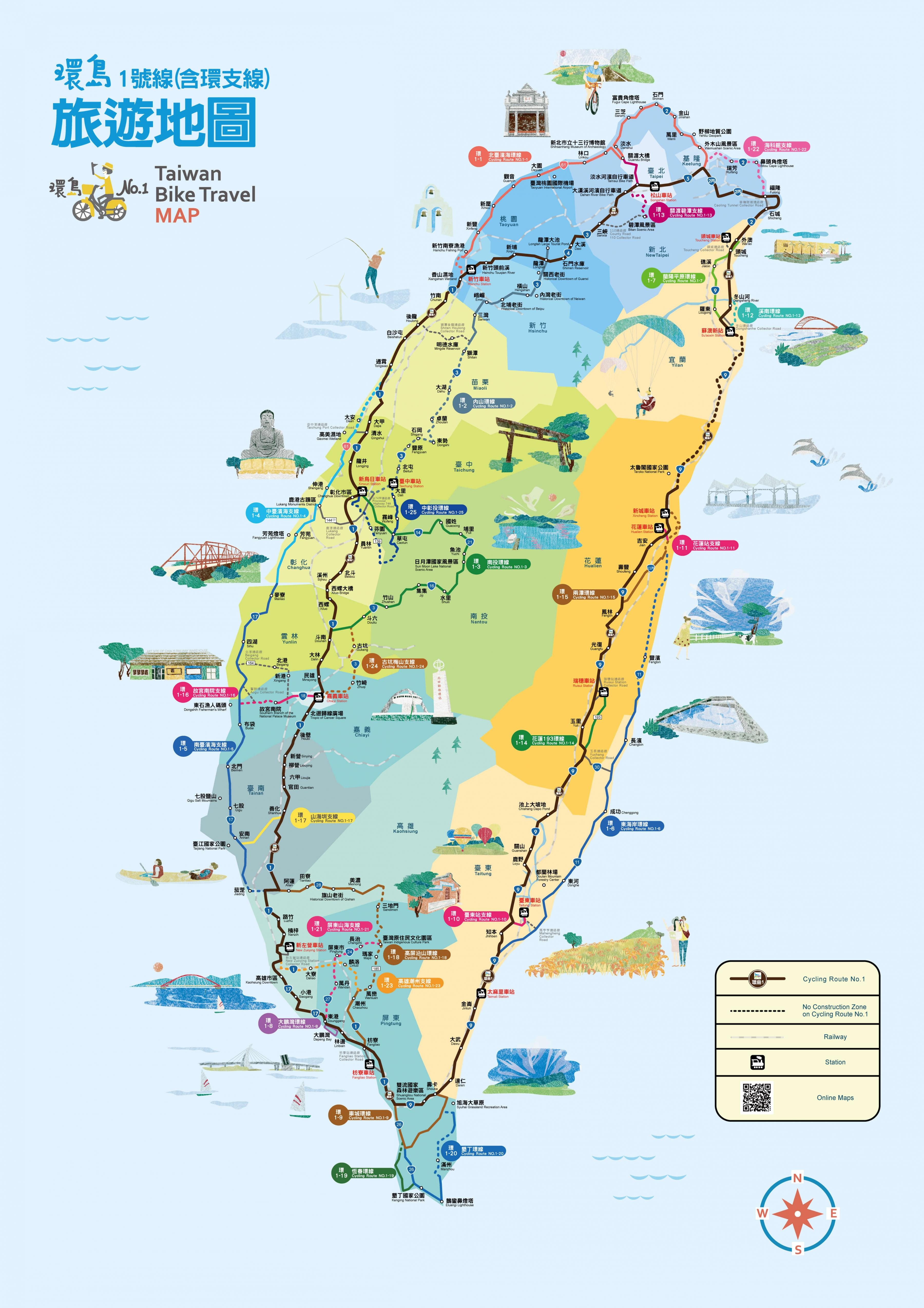 Taiwan Pyoraily Kartta Pyoraily Ympari Taiwan Road Pyoraily